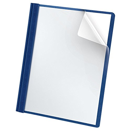 Oxford Premium Clear Front Report Covers, Letter Size, Blue, 25 per Pack (58801EE)