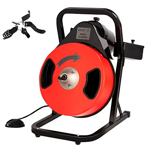 """Goplus Electric Drain Pipe Auger Cleaner 50 Ft 1/2'' Compact Sewer Snake Portable Drill Drain Cleaning Machine Power Feed GFCI w/ 4 Cutters for 2"""" to 4"""" Pipes (Red)"""