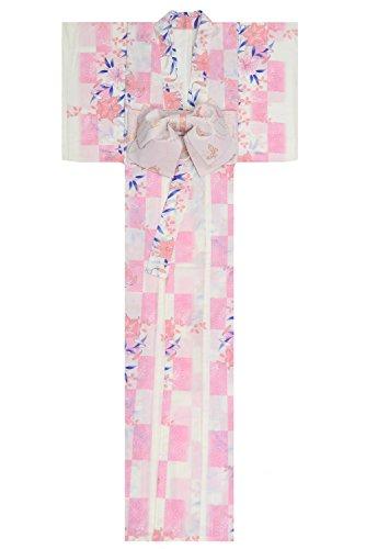 専門化する少数手荷物KimonoMode24 Women's Japanese Yukata And Easy Wearing Pink Obi Set/ Cherry Blossom Pattern Free Size White