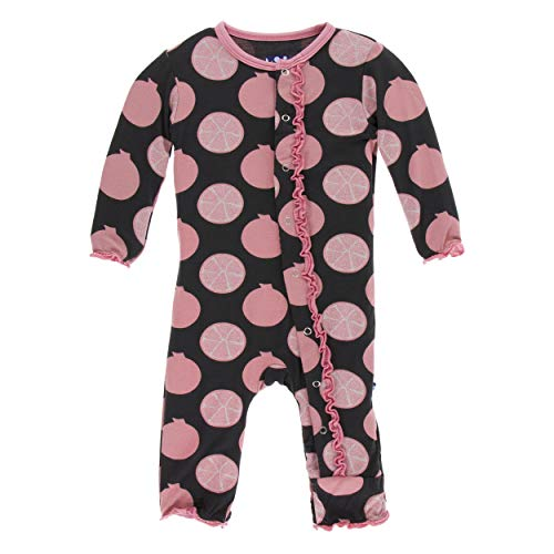 Kickee Pants Little Girls Print Muffin Ruffle Coverall with Snaps - Zebra Pomegranate, 3-6 ()