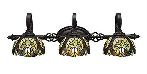 (Toltec Lighting Eleganté 3 Light Bath Bar Ivory Cypress Tiffany Glass)