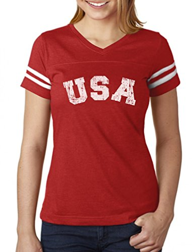 4th of July USA Vintage Retro Style American Women Football Jersey T-Shirt Large Red/White