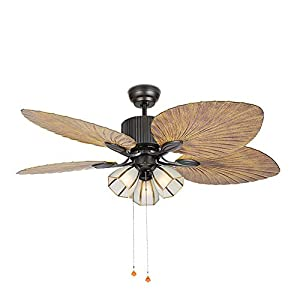 Palm Island Bali Breeze Ceiling Fan With Remote Control Five Palm Leaf Blades Tropical Style 52 Bronze With 3 Lights Beachfront Decor