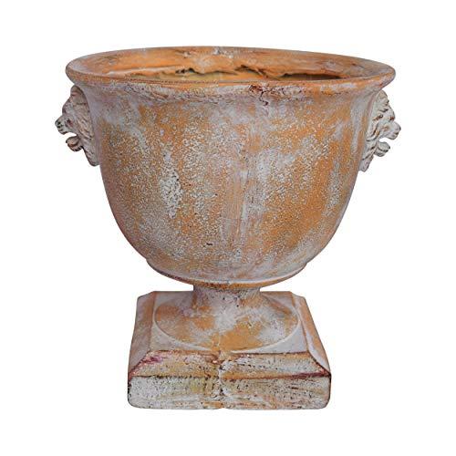 Urns Containers Planters Garden (Great Deal Furniture Andrea Chalice Garden Urn Planter, Roman, Lionhead Accents, Antique Copper Lightweight Concrete)