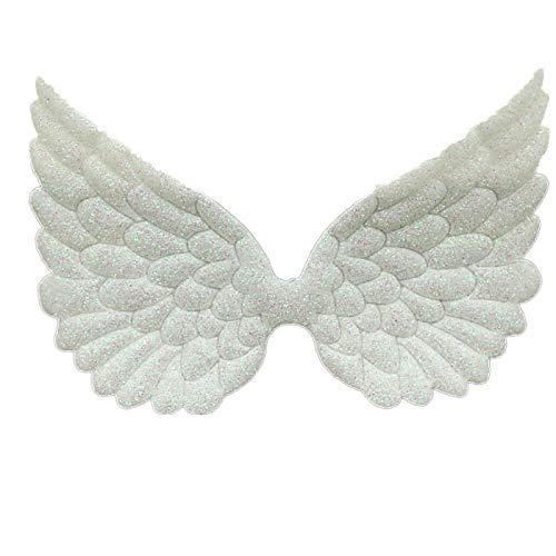 Glitter Fabric Angel Wings Embossed Angel Wing Appliques for DIY Craft Project, Hair Accessory - Pack of 10 PCS (Glitter White) ()