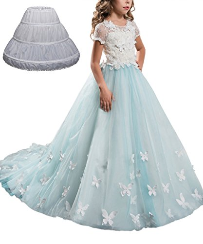 Amazon.com: PLwedding Little Girls Hoop Skirt Petticoat Half Slip ...