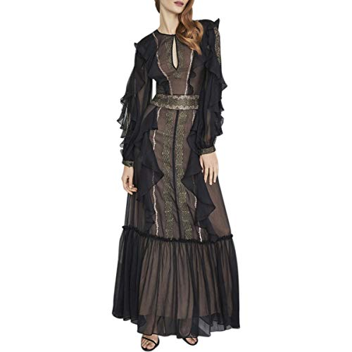 BCBG Max Azria Womens Embroidered Chiffon Ruffle Flounce Gown Black Size 8
