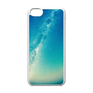 iPhone 5C Case,Beautiful Milky Way Green Blue Tint Hard Shell Back Case for White iPhone 5C Okaycosama388650
