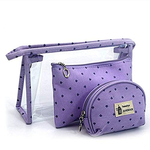 990b19fc56f4 Set of 3 Different Sizes Cosmetic Bag PVC Portable Cosmetic Bags Makeup and  Toiletry Pouch Purse Bag for Travel or Daily Use