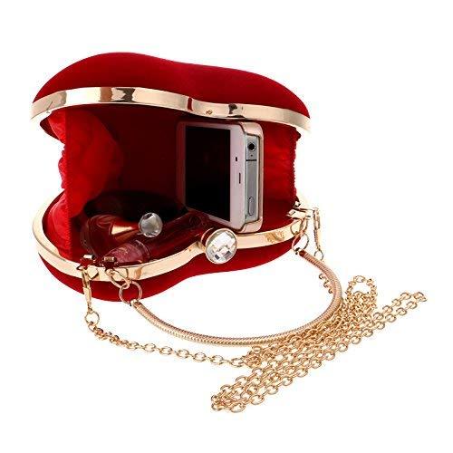 GETKO WITH DEVICE Velvet Fabric Women Clutch Handbag Heart Shape Purse Ladies Party Bridal Wedding Bags Designer Evening Bags Handbag (Red)