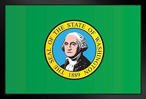 (Washington State Flag Framed Poster 14x20 inch)