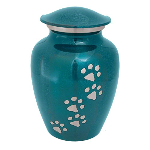 Classic Series Pet Urn, Marine Green with Vertical Pewter Paws (Large, Marine Green) from Best Friend Services