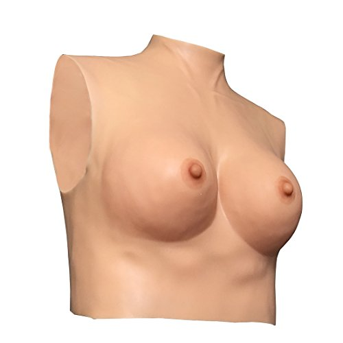 Qianle Silicone Fake Boobs Breast Forms High Neck Vest Cross Dress(Skin,L,Cup D) Mastectomy High Neck