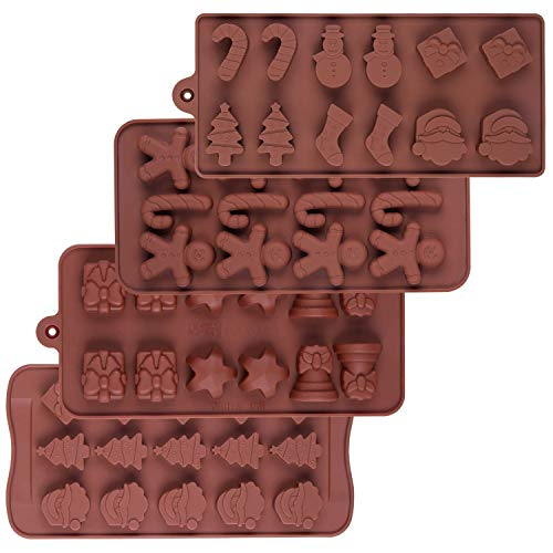 WARMWIND Silicone Christmas Chocolate trays, Non-Stick Candy Baking Molds, Cake Decorating for Christmas Party, DIY Handmade Biscuit molds(Set of 4)