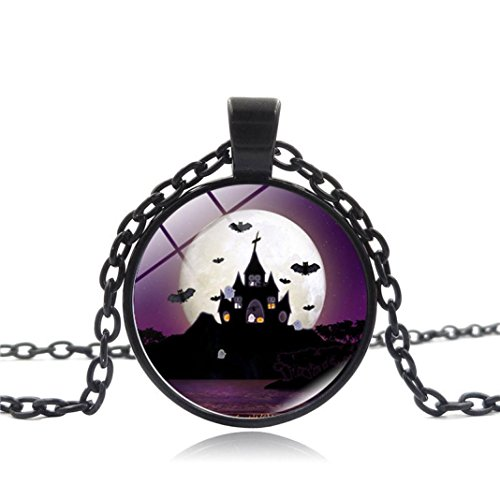 Halloween Cute Zombie Makeup (Livoty Vintage Happy Halloween Glass Chain Pendant Necklace NEW (B))