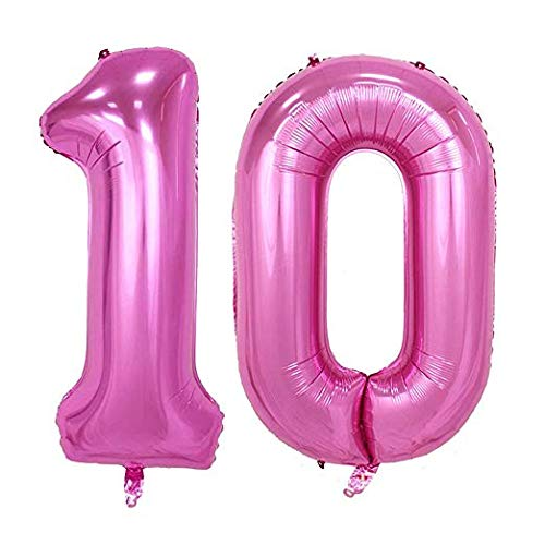 Tellpet Pink Number 10 Balloon, 40 Inch ()