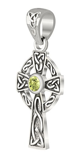 US Jewels And Gems New Small 0.925 Sterling Silver Irish Celtic Knot Cross Genuine Peridot Pendant (Knot Peridot Celtic)
