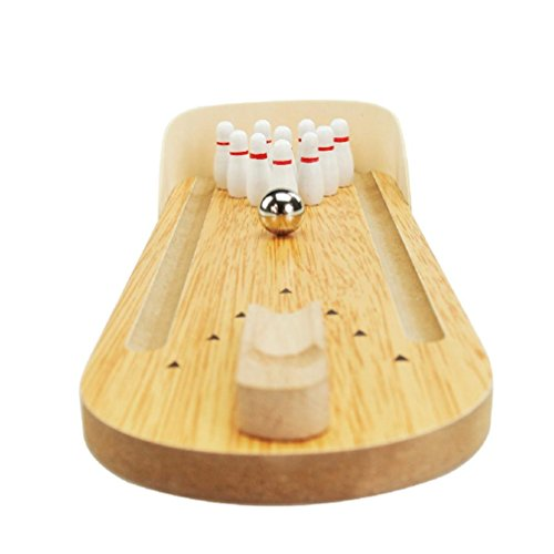 Price comparison product image Kids Bowling Friends Play Set and Game,Mini Wooden Bowling Game Home Office Desk Toy for Adults Stress Relief and Kids Intelligence Development,Nacome