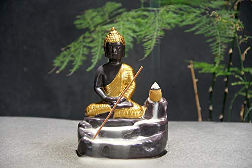 J&K Backflow Incense Holders Zen Buddha-Waterflow Fountain Incense Sticks Burner Figurine Incense Cone Holders Home Decor Statue Ornaments (Gold) (Sticks Buddha Incense)