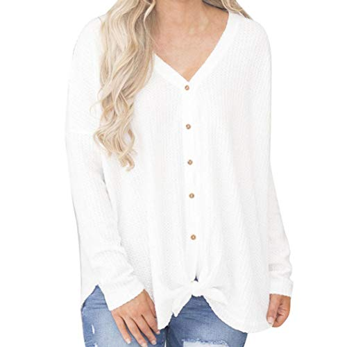 Bafaretk Womens Cardigans Loose Knit Blouse Knot Henley Tops Bat Wing Plain Sweatshirt (S, White) by Bafaretk