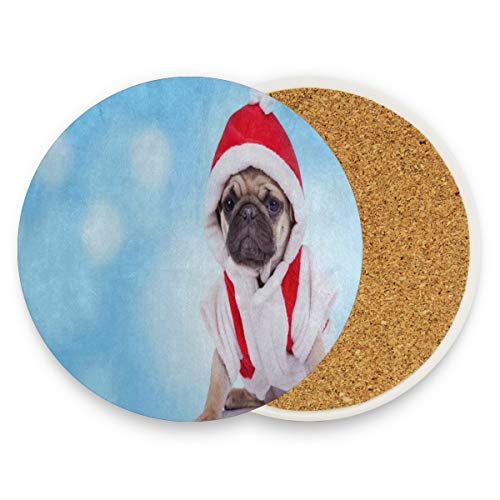 LoveBea Cute Pug Puppy Wearing Santa Claus Costume Christmas Coasters,Prevent Furniture from Dirty and Scratched,Round Cork Coasters Set Suitable for Kinds of Mugs and Cups,Living Room Gift Set of -