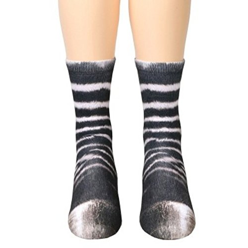 3D HD Print Funny Socks, YAMATE Sublimated Elastic Realistic Animal Paw Crew Socks for Unisex Kids Boys Girls (Zebra)