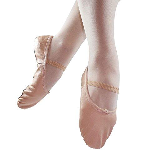 Danzcue Erwachsene volle Sohle Leder Ballett Slipper Rosa