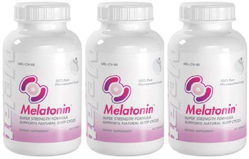 La mélatonine Super Strength Supporte les cycles de sommeil naturel Mélatonine 10mg 180 Capsules 3 Bouteilles