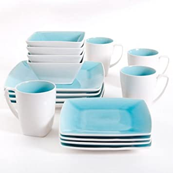 Amazon.com: Gibson Studio Pleasanton 16-Piece Dinnerware Set, Square ...