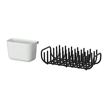 IKEA BOHOLMEN - escurridor de vajilla y cesta para cubiertos, negro, blanco - 37x21 cm: Amazon.es: Hogar