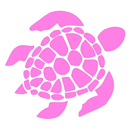 Sea Turtle [Pick Any Color] Vinyl Transfer Sticker Decal for Laptop/Car/Truck/Window/Bumper (5in x 4.5in (Car Size), Pink)