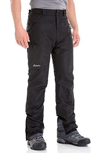 Clothin Men's Insulated Ski Pant Fleece-Lined Waterproof Snow Pants Black M (Regular Fit)