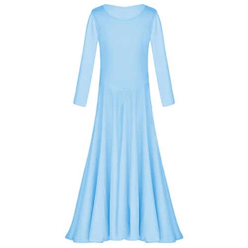 Little/Big Girls Long Sleeve Liturgical Praise Lyrical Dance DressMuslim Islamic Runway Maxi Gown Light Blue 5-6 -