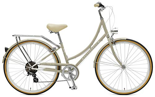 Retrospec Venus Step-Thru Frame Hybrid City Commuter Bike, 44cm-Medium/Large, Taupe, 7-Speed