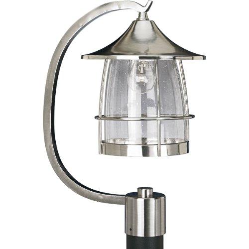 Progress Lighting P5463-09 1-Light Prairie Post Lantern, Brushed (Prairie Style Outdoor Lighting)
