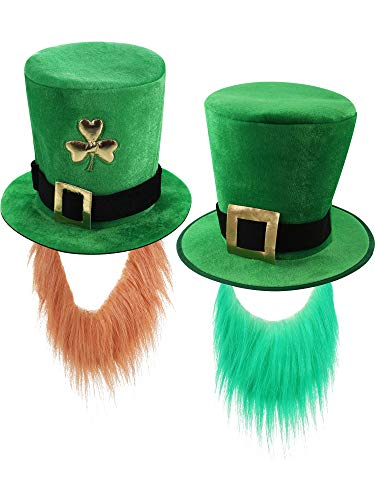 Zhanmai 2 Pieces Green Top Hat St. Patrick's Day Hat with Faux Beard Leprechaun Shamrock Hat for Party Costume Accessory -