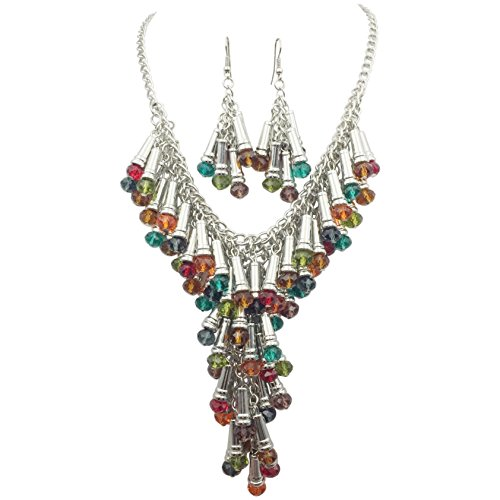 (Cascading Multi Color Glass Bead Silver Tone Statement Necklace Earrings Set Orange Red Blue Purple Green Brown)