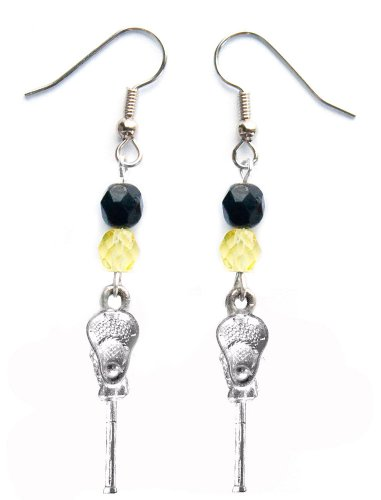 ''Lacrosse Stick & Ball'' Lacrosse Earrings (Team Colors Black & Yellow) by Edge Sports