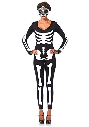 Leg Avenue Women's Spandex Printed Glow-In-The-Dark Skeleton Catsuit, Black/White, Medium (Glow In The Dark Skeleton Suit)