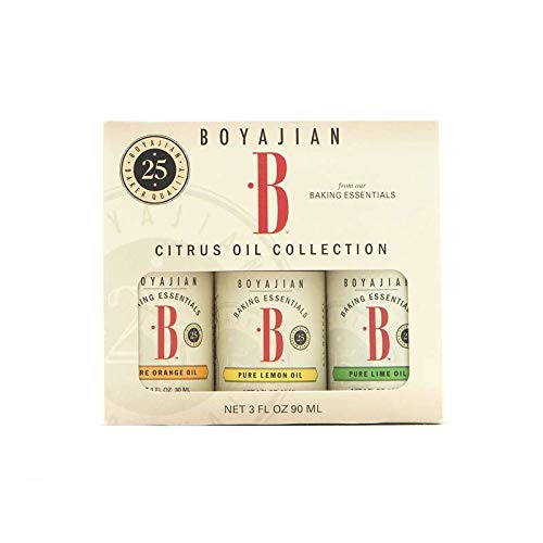 Boyajian Citrus Oil Collection - 1 Ounce Cold Pressed Baking Oils Gift Set - Lemon, Orange, and Lime Oils for Baking and Cooking