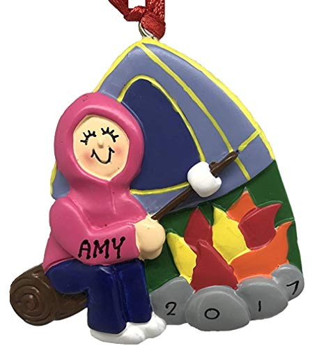 Personalized Camper Female Camping Christmas Ornament 2019]()