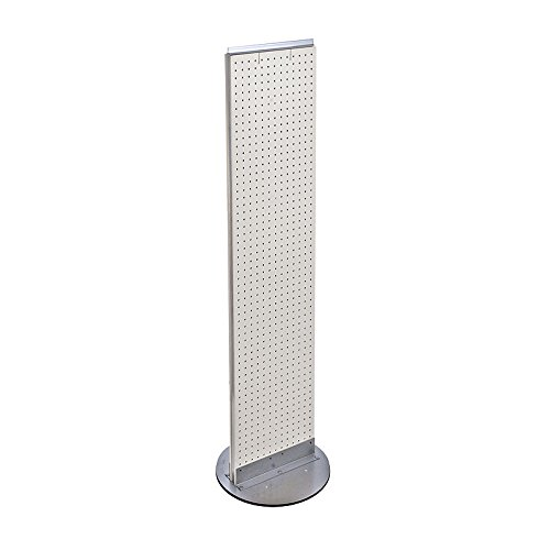 White Pegboard Floor Display Stand Revolving Base 13.5'' W X 60'' H by Floor display