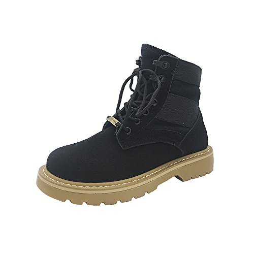 Women Boots, Hatop Women Fashion Lace Up Low Heel Round Toe Warm Winter Martin Ankle Boot Shoes Black