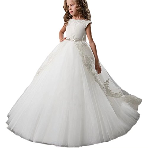 (Ourlove Dress Kids Evening Gown First Communion Dresses for Girls with Bow Belt Lace Appliques Pageant Gowns 2018(White)