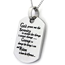 Serenity Prayer Dog Tag Pendant Necklace With 18 Inch Chain - Stainless Steel Necklace - 12 Step Necklace
