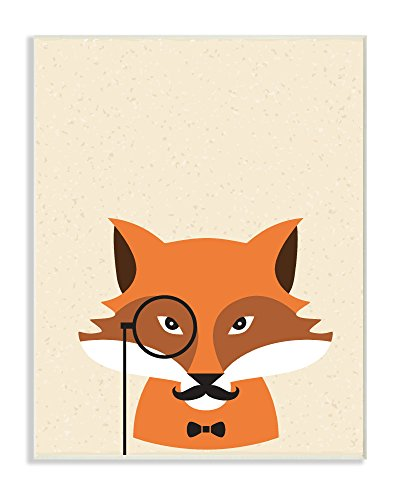 Stupell Home Décor Graphic Hipster Fox with Textured Background Wall Plaque Art, 10 x 0.5 x 15, Proudly Made in USA