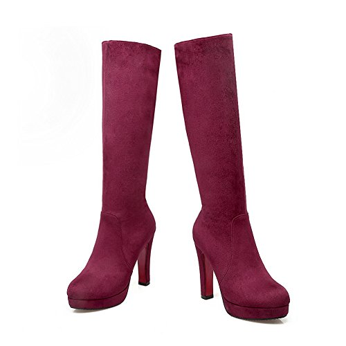 1TO9 Womens High-Heel Zipper Closed-Toe Round-Toe Urethane Boots Claret l0vwjd
