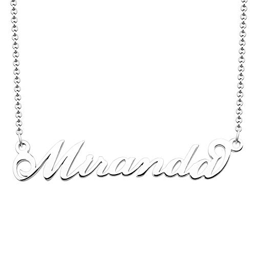 SexyMandala Personalized Name Necklace Initial Necklace Customized Sterling Silver Original Font Pendant Jewelry Same Day Shipping Gift for Miranda