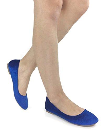 Anna Luxe Fluwelen Slip Op Flats Voor Dames Royal Blue