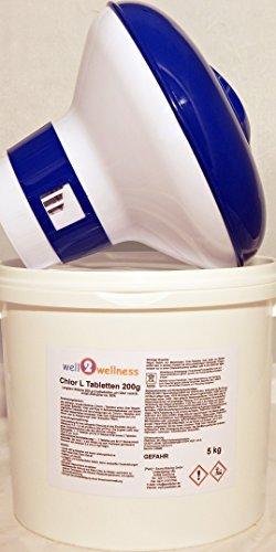 Chlor L Tabletten 200g - langsam lösliche Chlortabletten a 200g mit 90% Aktivchlor, 5,0 kg plus Dosierer